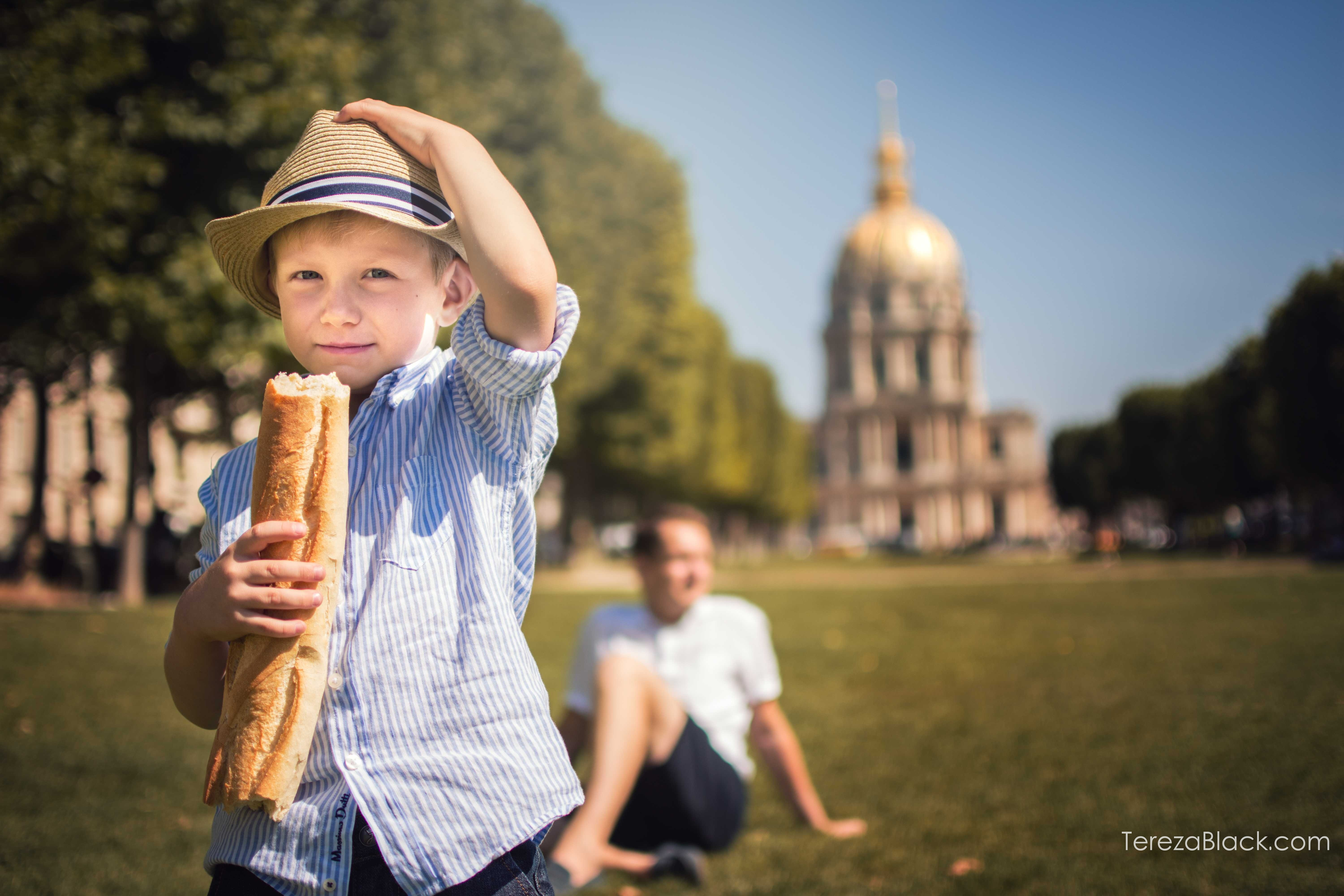 Little French boy with a baguette