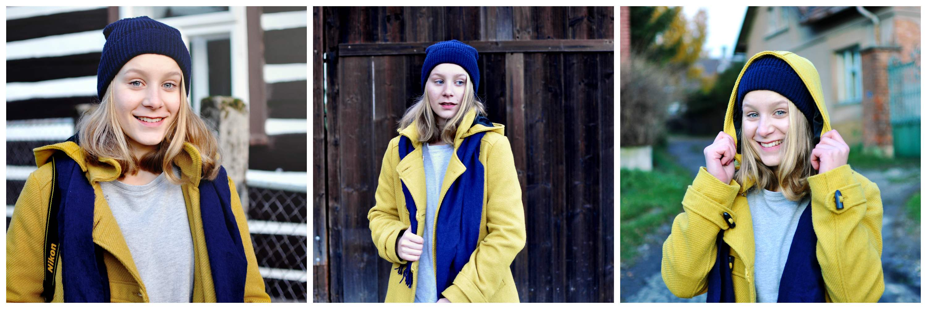 Portraits of a blonde girl in the yellow coat