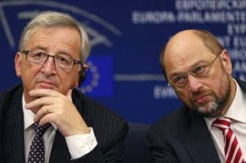 Elected president of the European Commission Juncker attends a press briefing with European Parliament President Schulz, after his election in Strasbourg