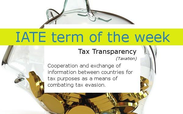 IATE term of the week tax transparency