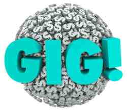 Gig word in 3D letters on a sphere of dollar signs to illustrate temporary work, earnings or freelance income