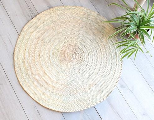 tapis rond decoration naturel palmier