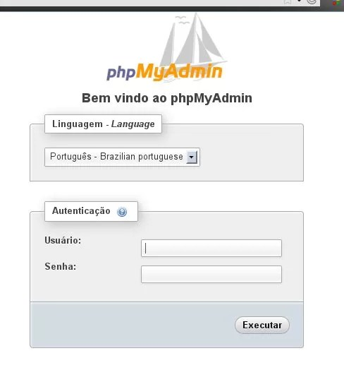 Tela principal do phpMyAdmin