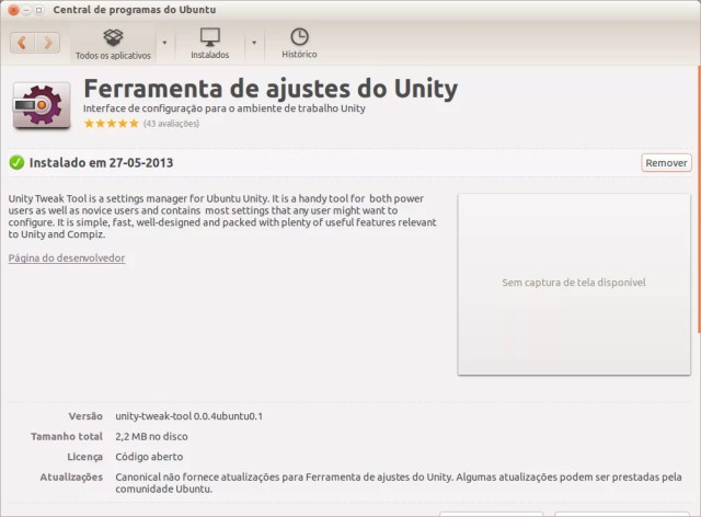 Central de Aplicativos - Unity Tweak Tool