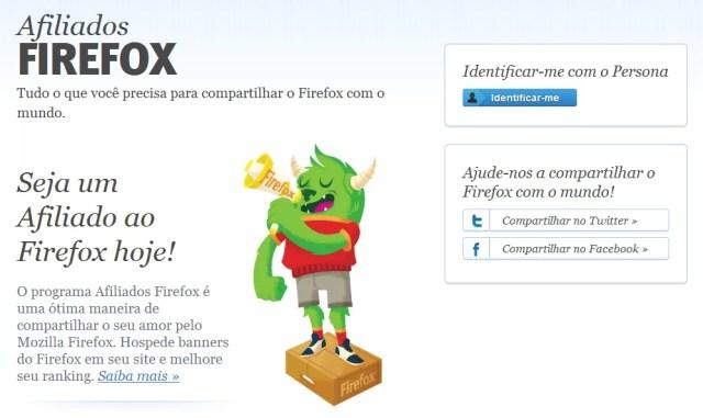 Mozilla Afiliados - Tela Principal