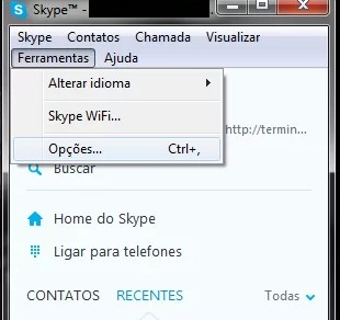 Acessando as Opções do Skype