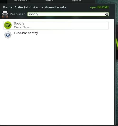 Procurando Spotify no menu de aplicativos
