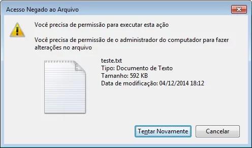 Tentando excluir pelo Windows