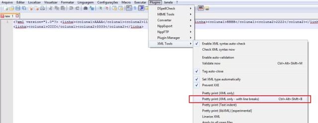 Recurso para indentar o XML