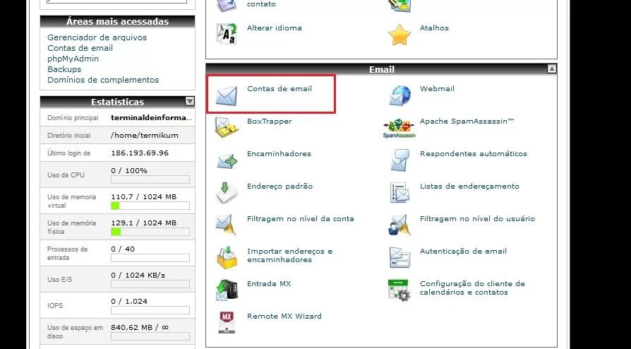 Acessando a opção de Contas de e-Mail