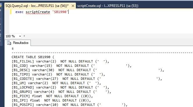 Script para gerar Create Table