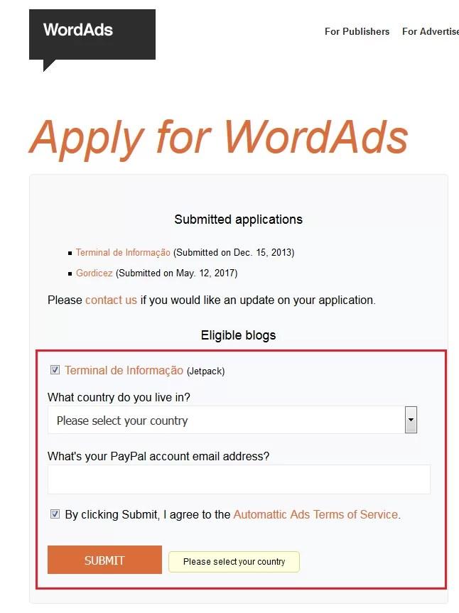 Aceitando o WordAds