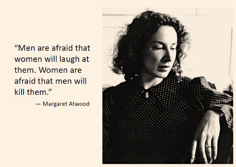 Men are afraid women will laugh at them, women are afraid men will kill them.