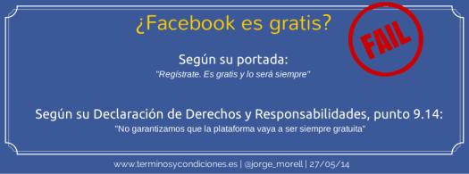 Términos y condiciones, Facebook y su gratuidad
