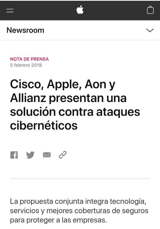 Noticia sobre una solución conjunta contra los ciberataques basada en la alianza de Cisco, Apple, Aon y Allianz.