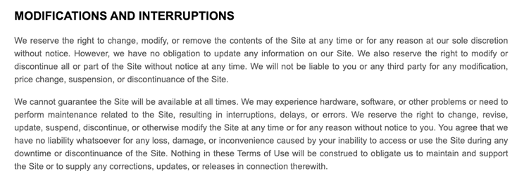 Modifications and Interruptions in a Website Terms and Conditions