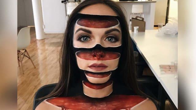 Menggunakan Makeup Seniman Inggris Ciptakan Ilusi Optik