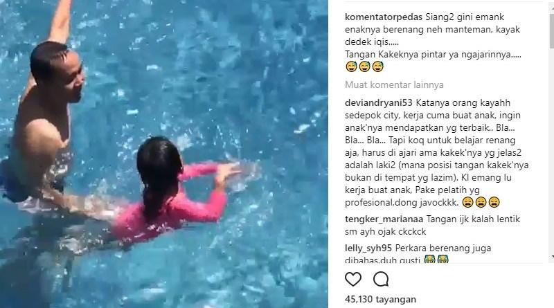 Video Ayah Rojak Saat Ngajar Bilqis Berenang Jadi Viral
