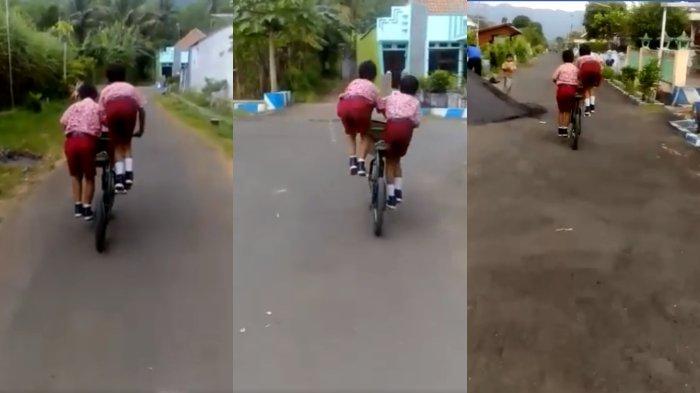 Gagal Fokus, Video Viral Dua Siswa SD Kayuh Sepeda Berdua