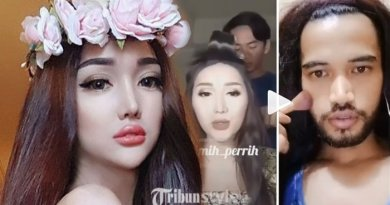 Kocak Abis, Pria Brewok Tebal Tirukan Lucinta Luna Make Up