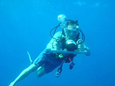 """Fisheries researcher Scott Heppell uses a """"laser caliper"""" to measure Nassau groupers as part of a long-term study of the species, which is threatened by overfishing. (Photo: 2009 Brice Semmens Grouper Moon Project)"""