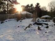 Auch die Abwassergrube ist verschneit und zugefroren.