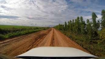 Imensos campos e plantações à beira da estrada