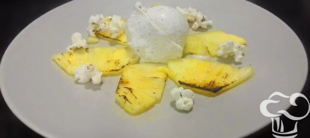 Receta de carpaccio d epiña con helado de palomitas