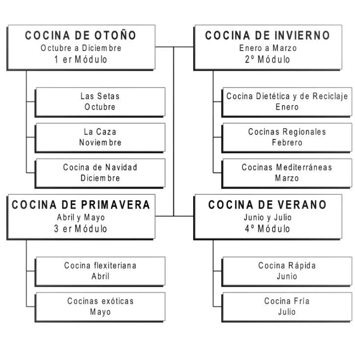 Programación de los cusros de cocina y pasteleria para aficionados