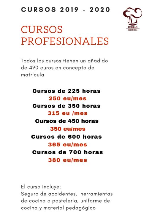 Oferta de cursos de cocina y pasteleria en la Escuela