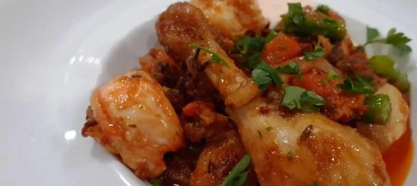 Receta de pollo y langosta en escabeche