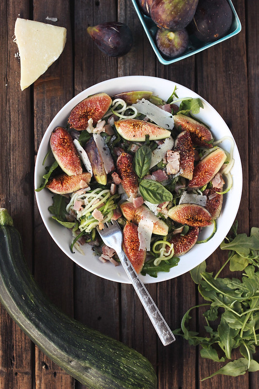Zucchini Noodles With Fig, Arugula And Pancett recipe