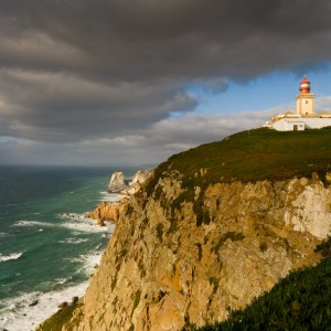 Portugal, Sintra, lighthouse of Cabo da Roca on cliff above Atlantic Ocean