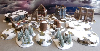 And the completed terrain set for use with a space wolves army