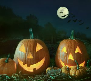 Night scene with Halloween pumpkins and moon