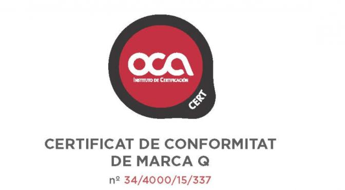 La Certificació Q dels sistemes TERRA SOLIDA i SAULO SOLID novament concedida, per sisè any consecutiu.