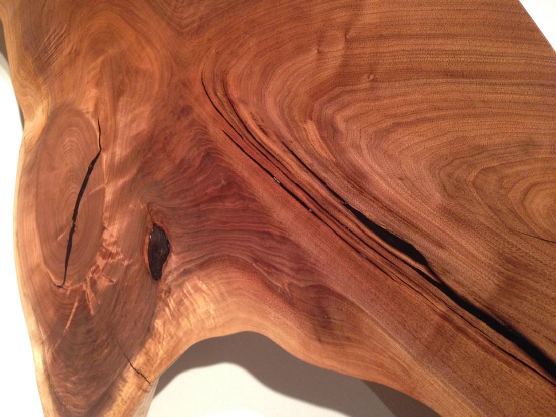 Image of walnut grain detail in large slab lumber