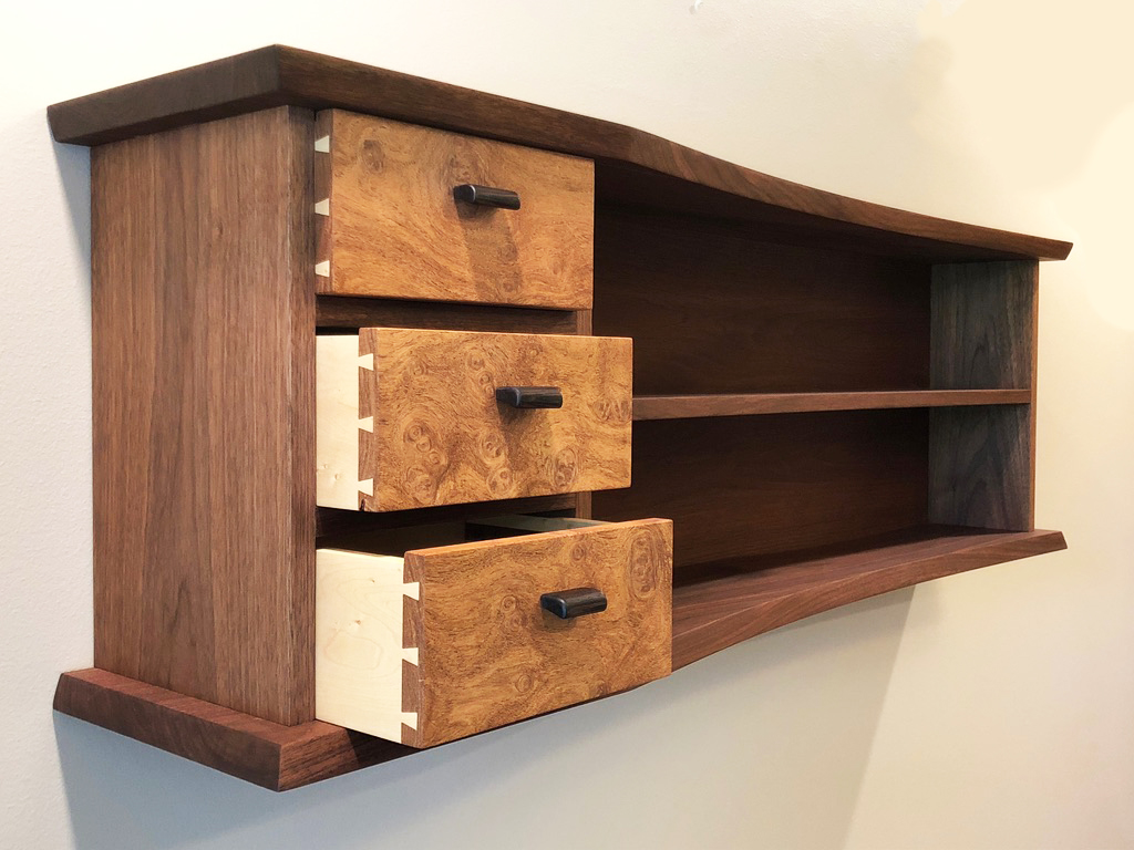 side view of walnut and maple cabinet