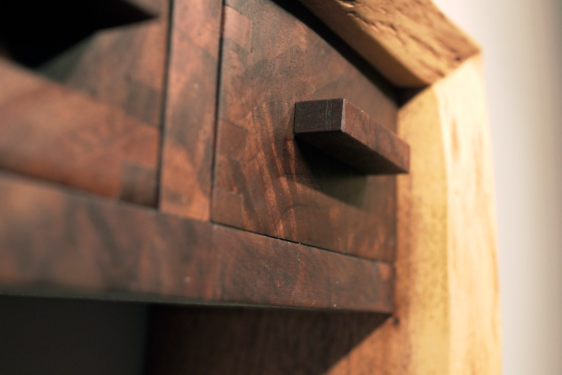 square walnut drawer pull with walnut drawer and box joints