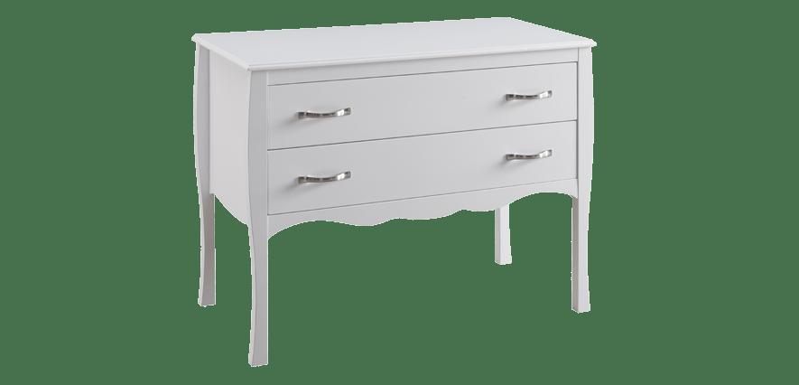 commode 2 tiroirs bois blanc style