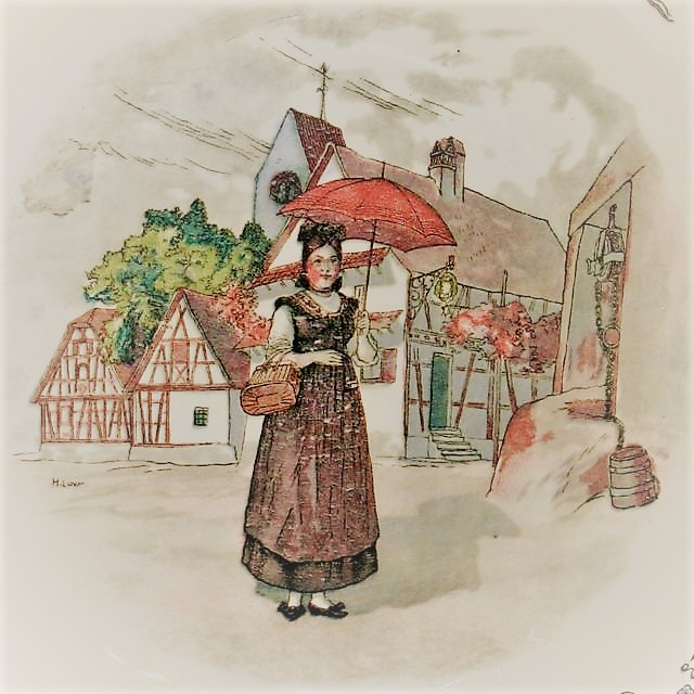 Dame au parapluie - Obernai - Faiencerie de Sarreguemines
