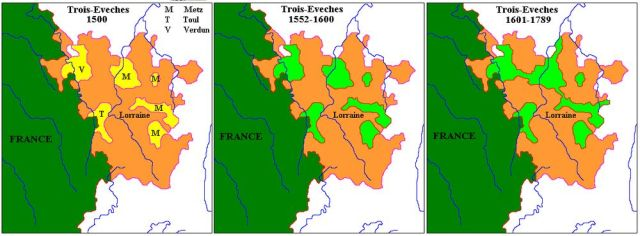 Les Trois-Evêchés de 1500 à 1789, où fut établie la faïencerie de St-Clément.