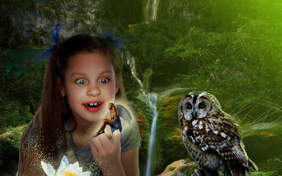 Girl in Forest with Fairy