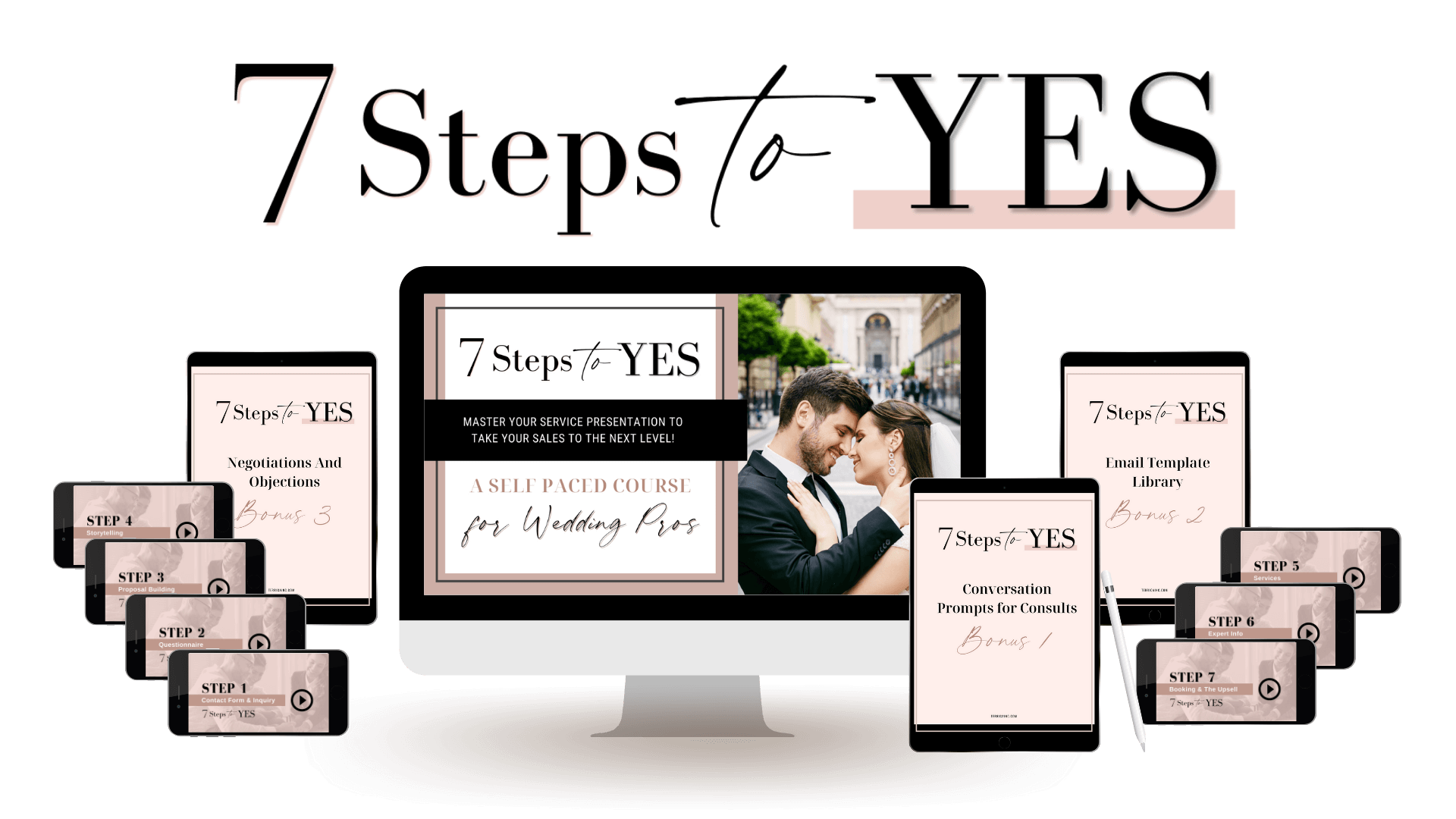 The 7 Steps To YES! Self Paced Sales Course for Wedding Pros