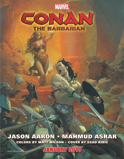 O Conan de Esad Ribic em propaganda da Marvel para a nova HQ.