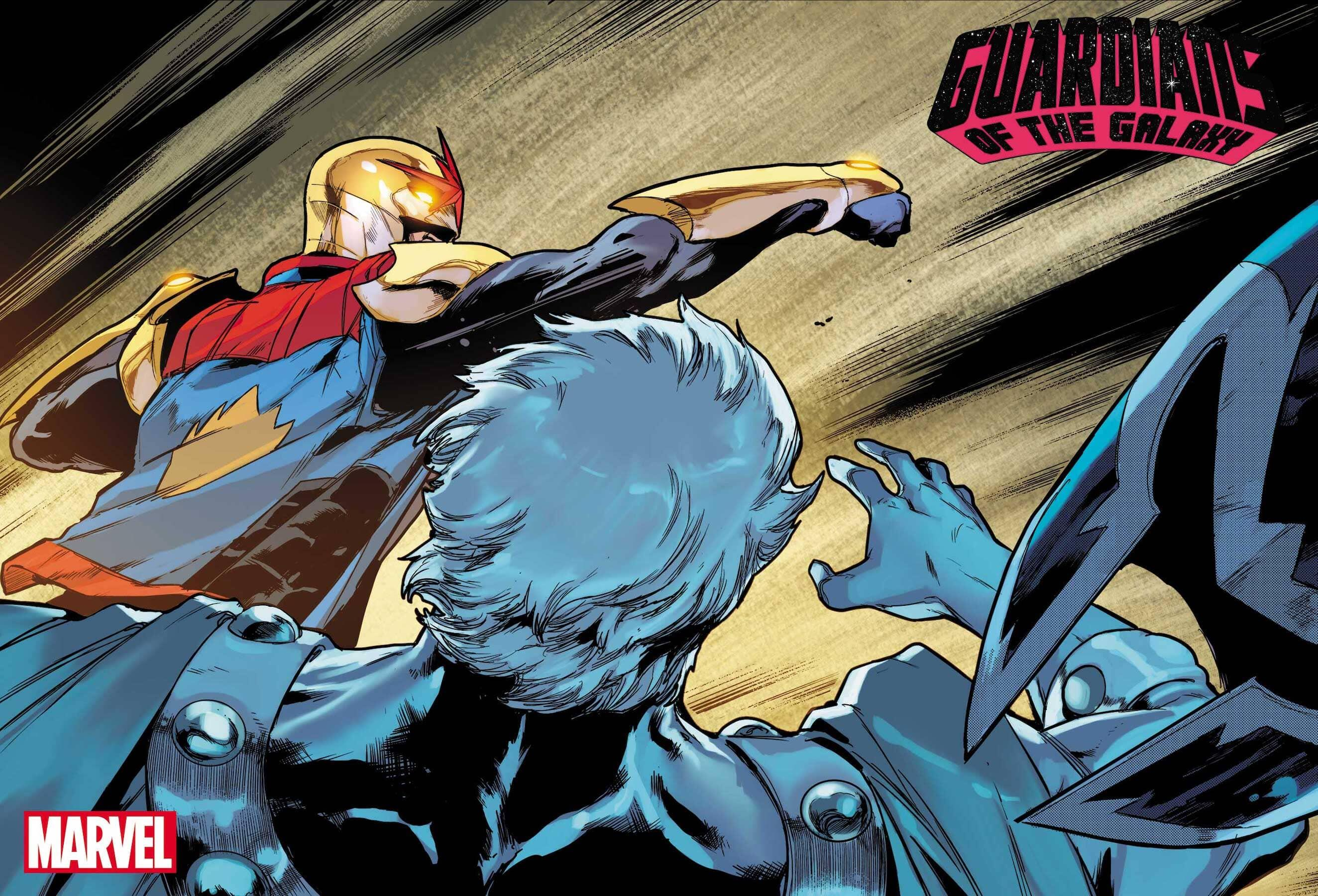 Nova punches out Magneto in Guardians of the Galaxy.