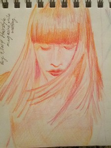 The Red Head was illustrated with the Magic pencil in Fire (yellow, orange & magenta) by Koh-i-noor Hardtmuth
