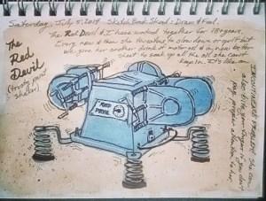 Paint shaker sketch, watercolour and ink (Back to Sketchbook Skool Homework!)