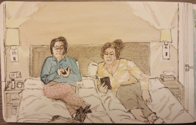 Late night sketch, Concert Hotel, Amsterdam. Watercolour  ink, Moleskine journal.