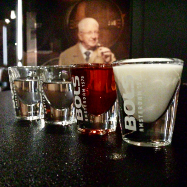 House of Bols, samples: 2 types of Genever, Passion fruit and Yogurt liqueur.